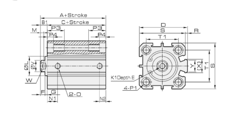 air cylinder schematic compact air cylinder dimensions  compact air cylinder dimensions