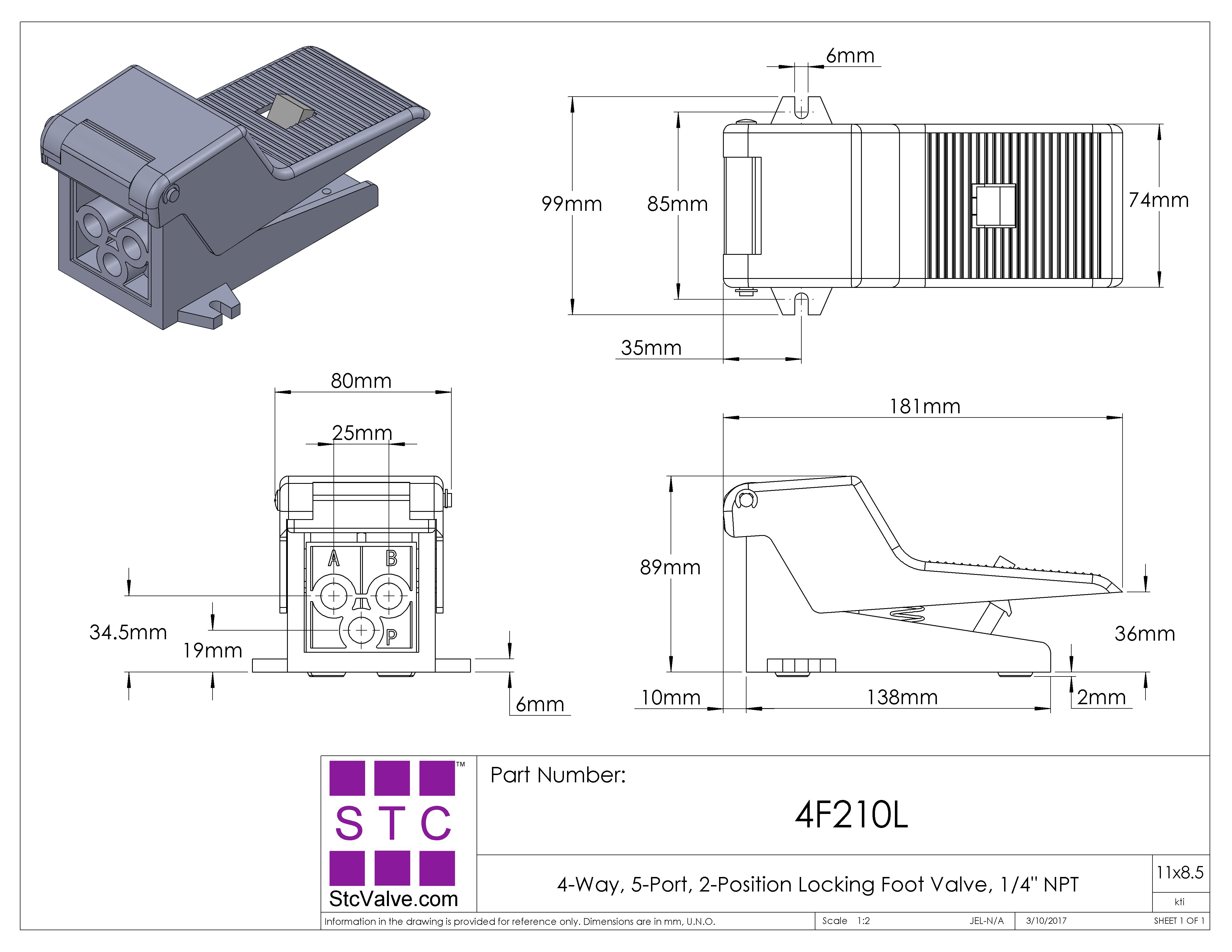 "5-Way//2-Position 1//4/"" NPT Pneumatic Foot Pedal Valve"