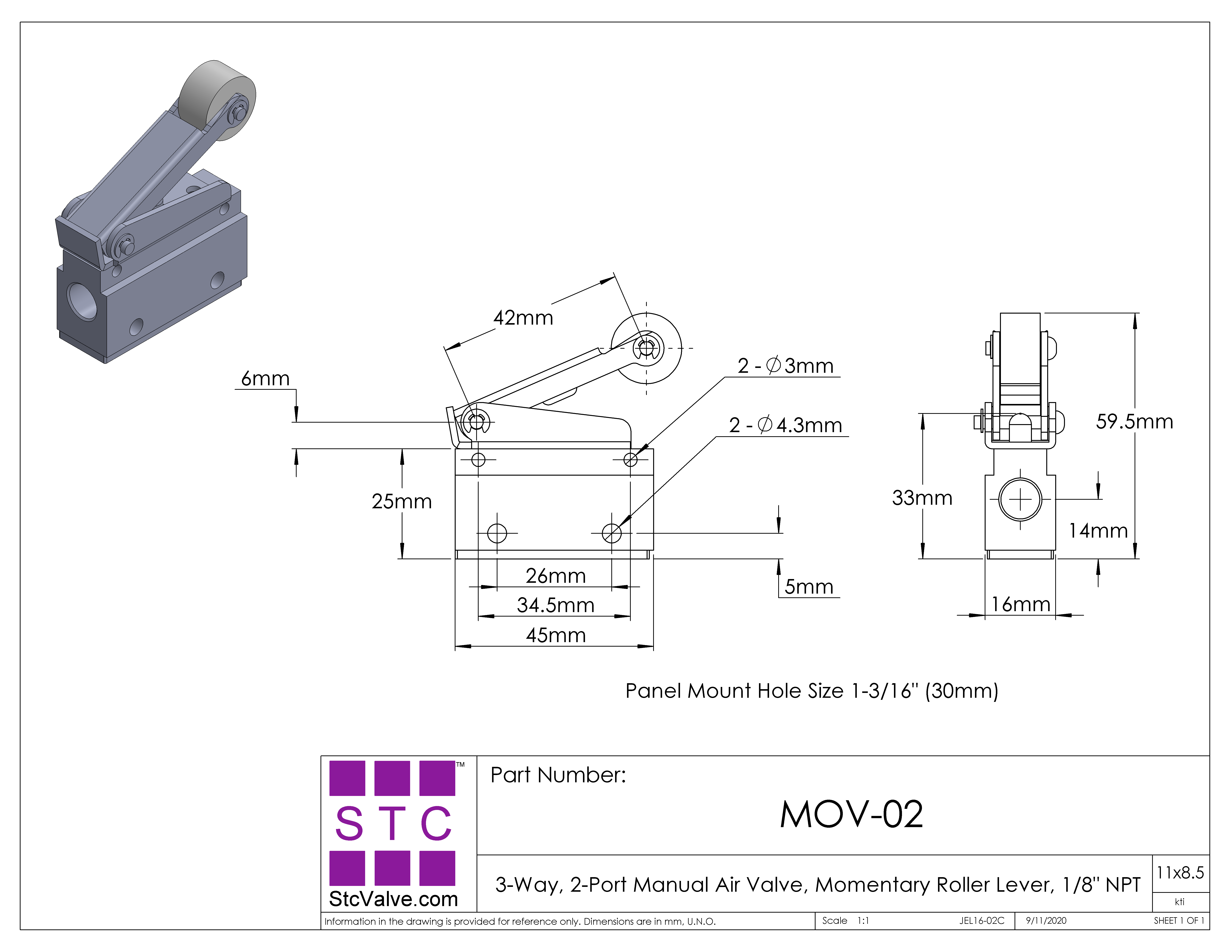 mov 02 hand operated pneumatic air valve with momentary roller leverlubrication, not required