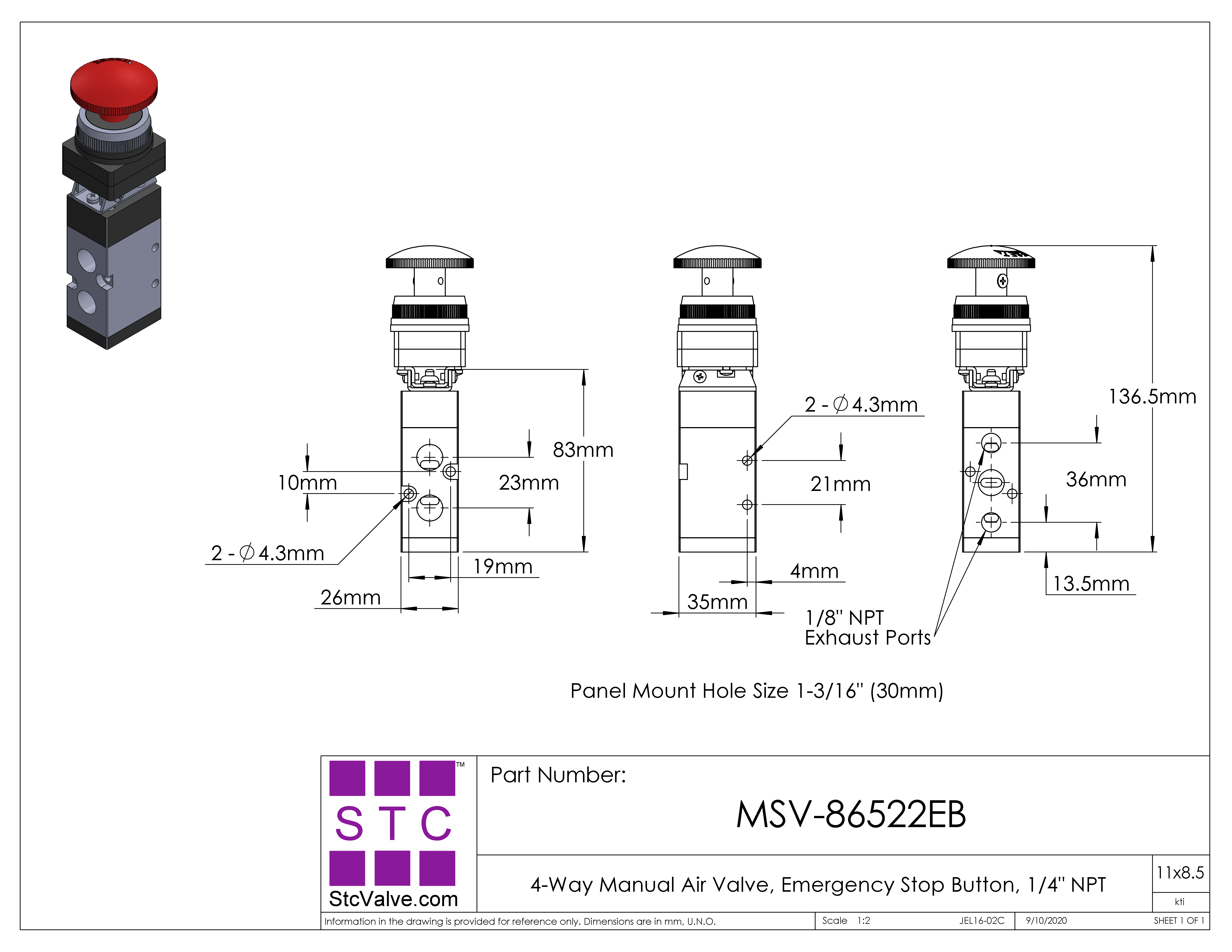 MSV86522EB  HandOperated Pneumatic Air Valve with Two