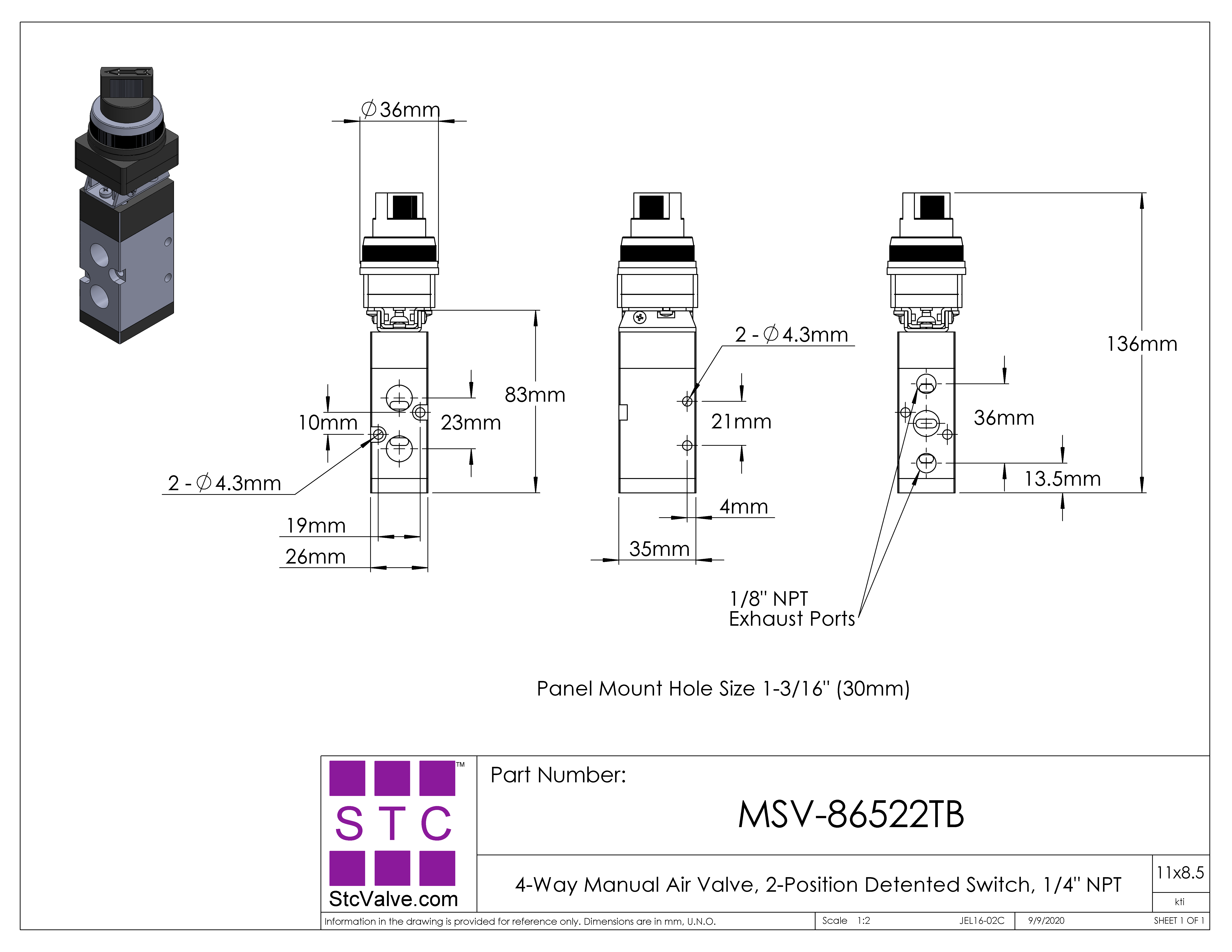 MSV86522TB HandOperated Pneumatic Air Valve with Two Position Switch