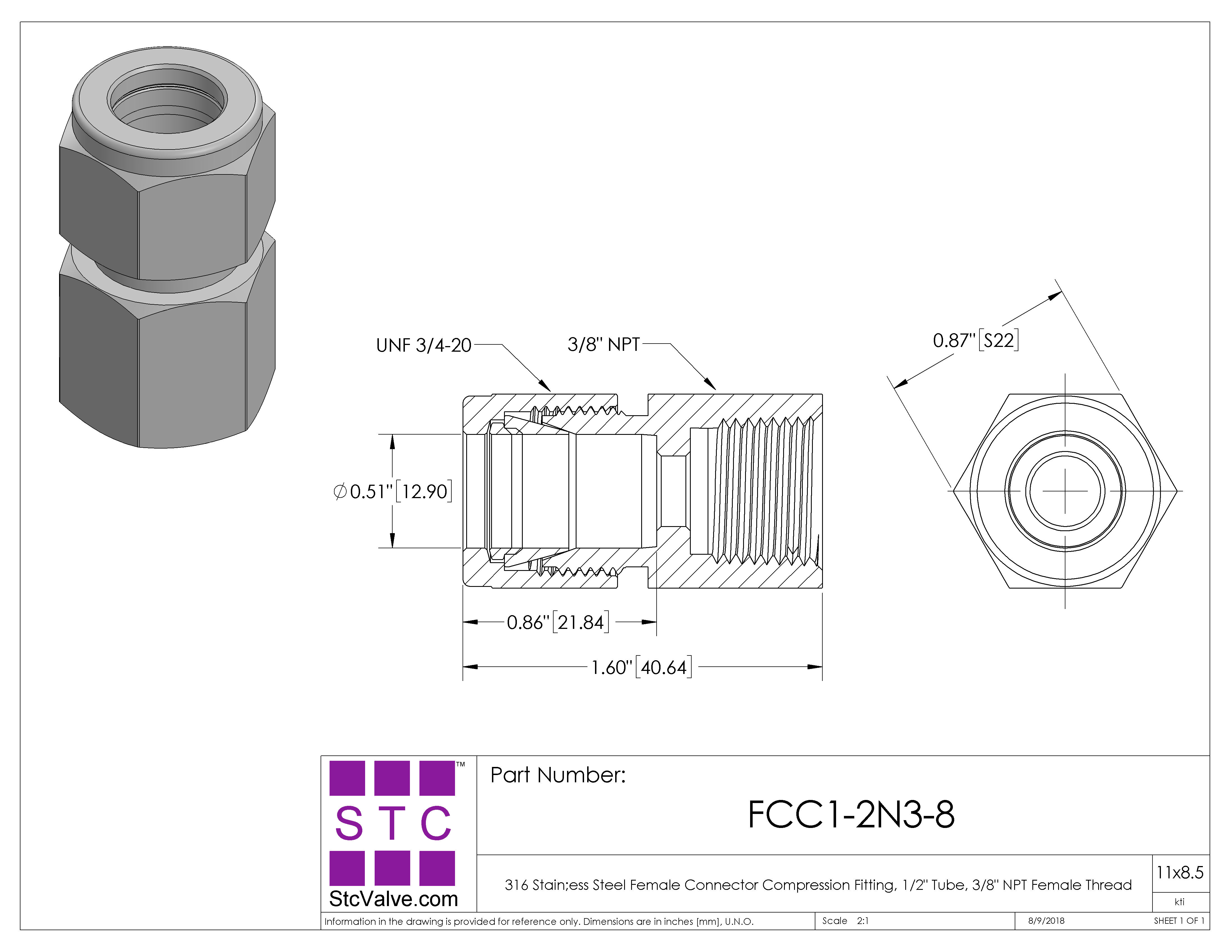 Female connector ss compression fitting fcc n