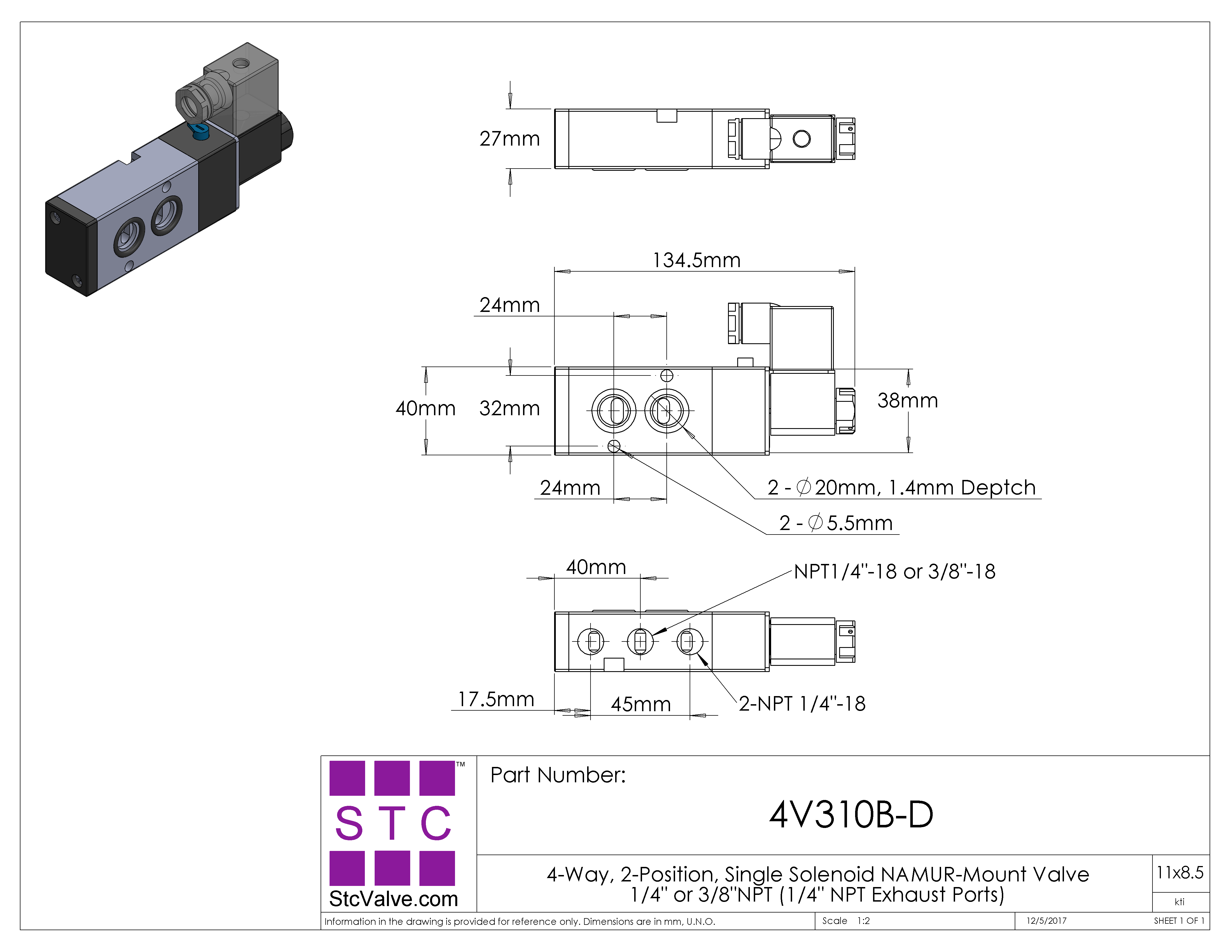 4V310B: 4-Way, 2-Position NAMUR Directional Solenoid Valve