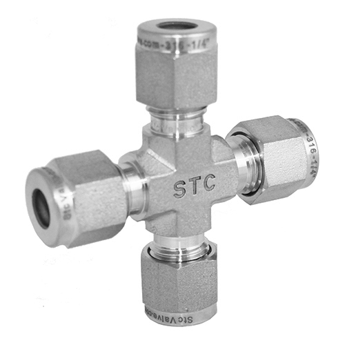 Stainless Steel Cross Union Compression Tube Fitting