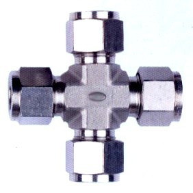 Cross Union Compression Tube Fitting